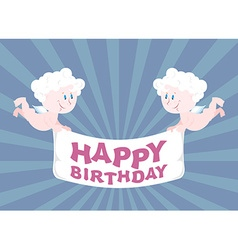 Two angels hold ribbon happy birthday cute babes vector