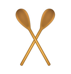 two crossed wooden spoons vector image