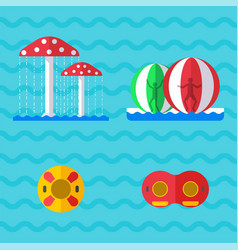 Water aquapark playground with slides and splash vector
