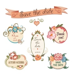 Wedding badge collection Set of flowers frames vector image vector image