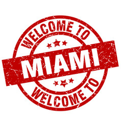 welcome to miami red stamp vector image vector image