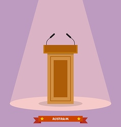Wooden podium tribune rostrum stand with vector