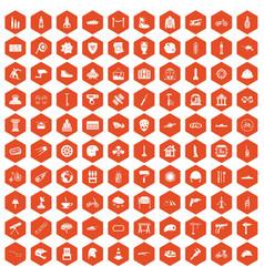 100 helmet icons hexagon orange vector