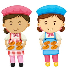 Two bakers holding tray of bread vector