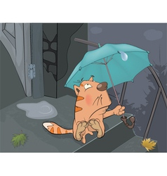 Cat and an autumn rain cartoon vector