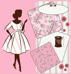 Vintage sewing elements with woman vector