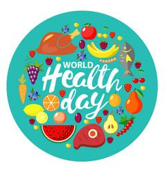 World health day concept round banner vector
