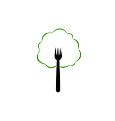 Tree shaped organic food logo vector image