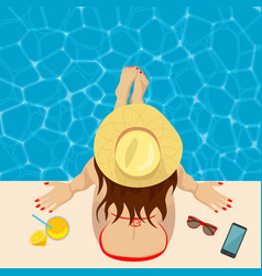 Young womanon edge of swimming pool top view vector
