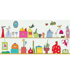 Funny kitchen shelf with utensils vector