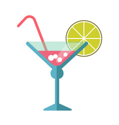 Pink cocktail in martini glass with straw and lime vector