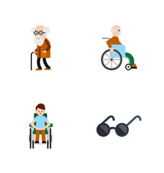 Flat icon disabled set of spectacles handicapped vector