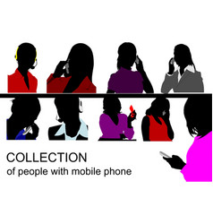 Collection of people silhouette speaking by vector