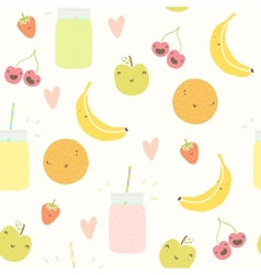 Smoothie pattern with funny fruits vector