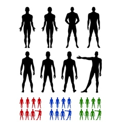 Full length front back silhouette of man set vector