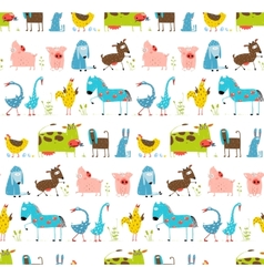 Bright fun cartoon farm domestic animals seamless vector