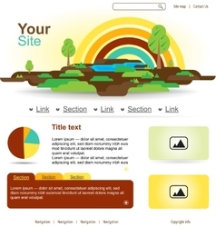 Website design with rainbow and trees vector