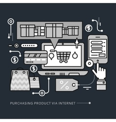 Purchasing delivery product via internet on black vector