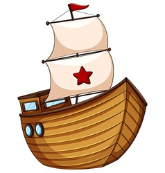 Wooden sailboat with flag vector