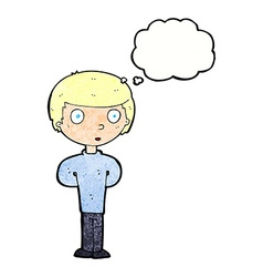 Cartoon curious boy with thought bubble vector