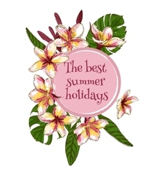 Summer hand drawn floral vintage card with vector