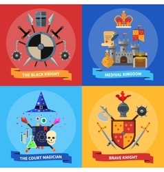 Knights concept 4 flat icons square vector