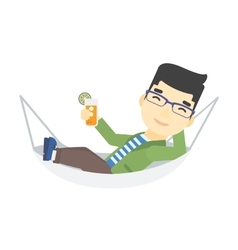 Man lying in a hammock vector