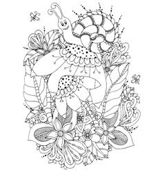 Zen tangle snail on flowers vector