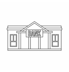 Bank icon outline style vector