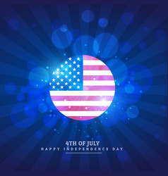 American flag icon in blue background vector