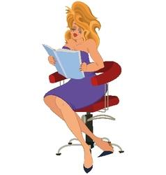 Cartoon girl in purple dress reading book vector image vector image