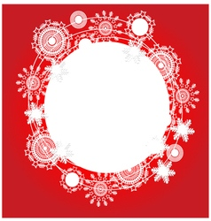 Christmas red background with snowflakes and place vector image