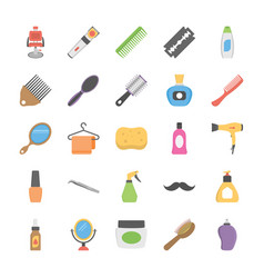 Collection of hair salon equipment flat icons vector