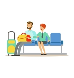 Couple waiting for a flight in waiting area part vector