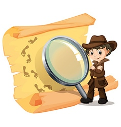 Detective and magnifying glass vector image vector image