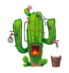 Device of cactus cooking alcoholic beverage vector