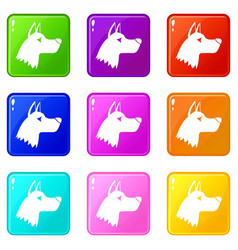 Doberman dog icons 9 set vector