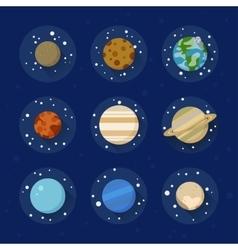 Flat solar system planets vector