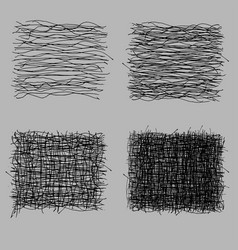 grunge rough hatching drawing textures set vector image