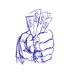 Hand holding money sketch or doodle hands with vector