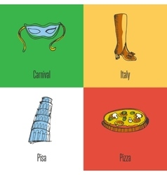 Italy National Symbols Icons Set vector image vector image