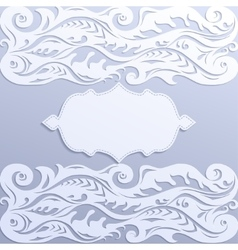 Lace paper greeting card with frame vector image vector image