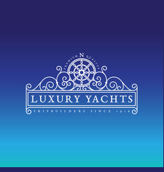 luxury yachts label vector image vector image