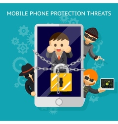 Mobile phone protection threats Security against vector image vector image