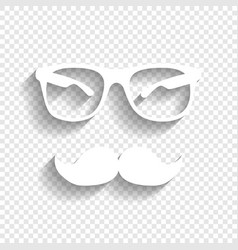Mustache and glasses sign white icon with vector