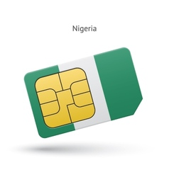 Nigeria mobile phone sim card with flag vector