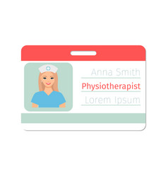 physiotherapist medical specialist badge vector image vector image