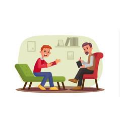Psychologist man patient talking vector