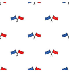 Red and blue flags icon in cartoon style isolated vector