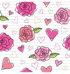 seamless pattern of roses vector image vector image
